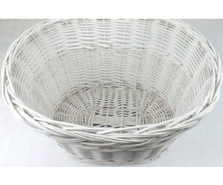 Wicker Bicycle Basket - White