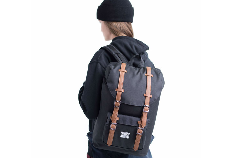 dd95841780d Buy Herschel Little America Backpack Black Tan Mid Volume