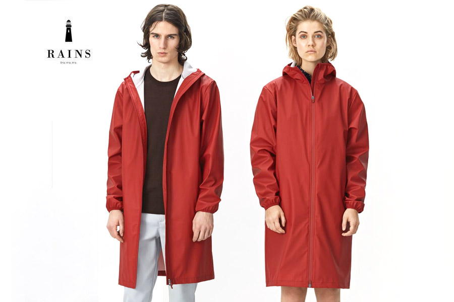 Rains Base Jacket Long - rot