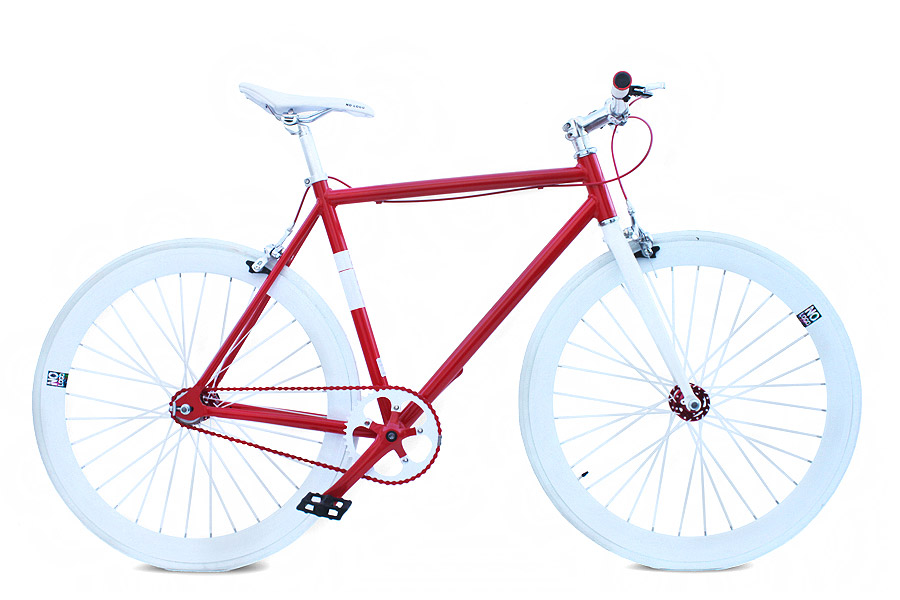 NoLogo Rood-Wit Fixie Fiets