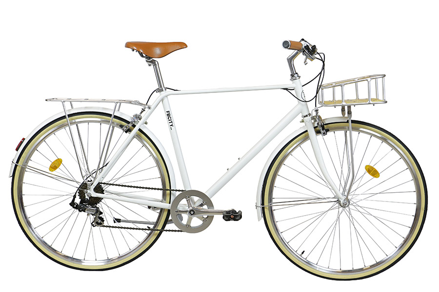 FabricBike City Classic 7 Speed Bicycle - Matte White