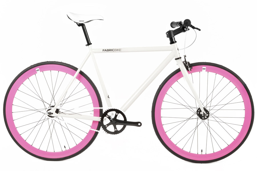 Fixie Fiets Fabric Wit & Fuchsia