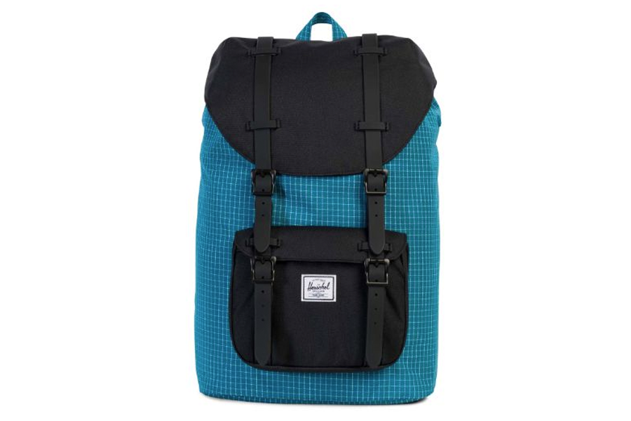 Herschel Little America Rugzak Ocean Depths Grid-Black Mid Volume