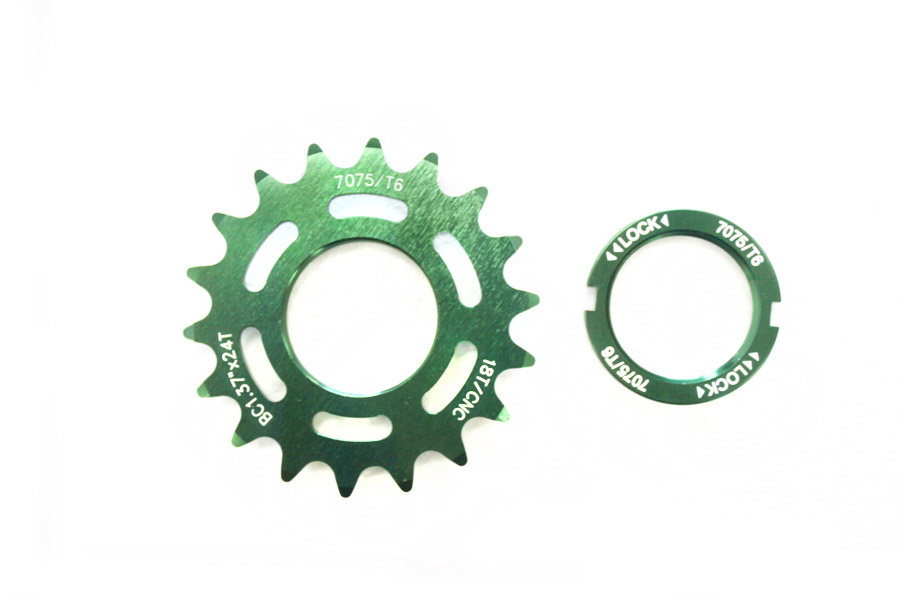 Fixed Tandwiel 18t met lockring - Groen